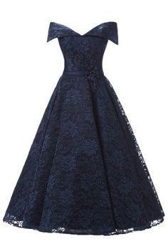 Sunvary Robe Courte Robe de Cocktail Robe de Demoiselle d'honneur Robe de Party Elegante A-ligne Dentelle Florale Epaule Degagee Cordon de Serrage-32-Bleu marin