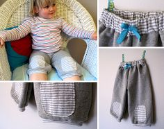 Simple Knit Shorts with Oval Knee Pads and Easy Hem {Tutorial}