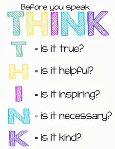 Think Before You Speak - Gossip - Young Women's Lesson Handout - YW
