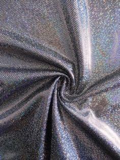 Hologram Sheen Foil Spandex Stretch Fabric- Silver HMLYC203 BKSLV