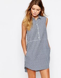 People Tree | People Tree Organic Fairtrade Cotton Shirt Dress in Check at ASOS