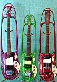 1967 Mosrite Guitars built for the Strawberry Alarmclock - the band has reunited and sound great! These guitars were built to be used in a film. They were painted by the famous Von Dutch. Ah, the sixties!