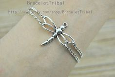 chain braclet with dragon fly | Dragonfly bracelet, retro silver dragonfly and chain bracelet, charm ...