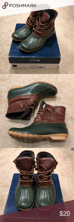 Sperry Top Sider Saltwater Duck Boots Sperry Duck boots in a dark green and brown leather upper. These are well loved but still have a lot of life left! Sperry Top-Sider Shoes Winter & Rain Boots