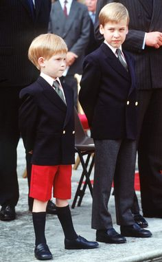William, age 7, and Harry, age 5, look like such little gentlemen at Kensington Palace in 1989.