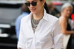 The NYFW Street Style Looks That Truly Stunned #refinery29  http://www.refinery29.com/2014/09/73987/new-york-fashion-week-2014-street-style-photos#slide101  The ultimate way to elevate your standard-white button-down.