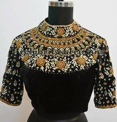High Neck Work Blouse in Black | Saree Blouse Patterns