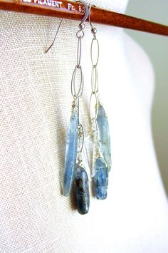 Kyanite Dangle Earrings Sterling Silver Wire Wrapped from Resa Wilkinson Jewelry