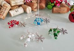 Christmas Wine Charms Snowflake Wine Charms Red by LasmasCreations