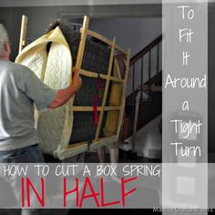 How to cut a box spring to fit it around a tight corner.  SO much cheaper than buying a split box spring! Mad in Crafts