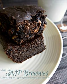 These AIP Brownies are cake-like and delicious! Using tigernuts and lard makes them a coconut-free treat.