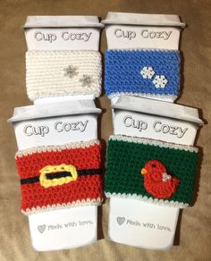 Christmas cup cozy, Stocking stuffer, Cup sleeve, Coffee cozy, Teacher gift, Handmade gift, Crochet cup cozy by CrochetbyBM on Etsy