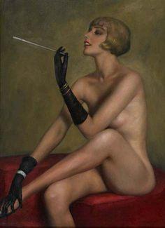 """MARCEL RENE VON HERRFELDT """"FUME"""" OIL ON CANVAS, FRENCH, C.1925"""