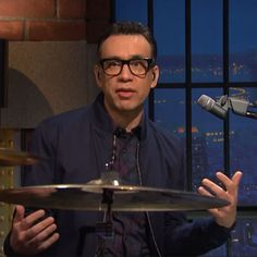 Fred Armisen-Late Night with Seth Meyers-Blue Jacket-red Blue Suit Looks, Fred Armisen, Seth Meyers, Red Shirt, Late Nights, Suits, Jacket, Partying Hard, Jackets