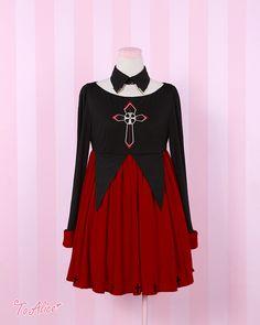 【To Alice】 C226-十字架血腥小魔女長袖連衣裙+假領2件套~-淘寶網