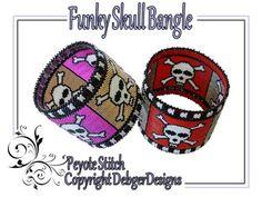 Funky Skull Bangle - Beading Pattern Tutorial | DebgerDesigns - Patterns on ArtFire
