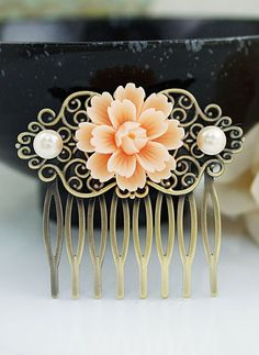 Wedding hair accessories Bridesmaids Gift Wedding Hair Comb Vintage Style Peach…