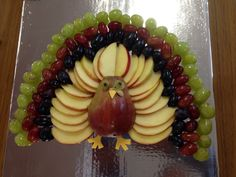 Kid's Thanksgiving Fruit Plate in the Shape of a turkey