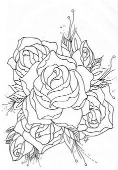 old+school+rose+outline (1111×1600)