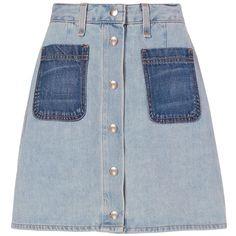 Rag & Bone/JEAN Varick Patch Denim Skirt (3.275 ARS) ❤ liked on Polyvore featuring skirts, denim, blue denim skirt, blue skirt, denim skirt, button front skirt and rag bone skirt