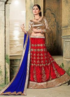 #Red And #Cream #Net #Circular #Lehenga #Choli #nikvik  #usa #designer #australia #canada #freeshipping #fashion #dress #wedding