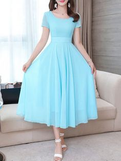 Stylewe Summer A-Line Holiday Chiffon Solid Midi Dress Midi Dresses Online, Dress Online, Maxi Dresses, Cute Dresses, Short Frocks, Frock For Women, Elegant Maxi Dress, Dress Indian Style, Elegant Woman