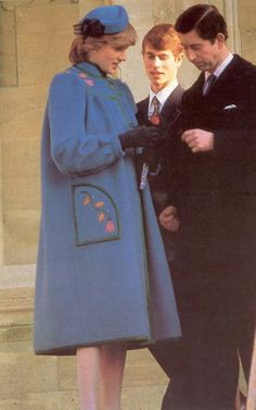 December Princess Diana and Prince Charles with Prince Edward and the Royal family leaving St Georges Chapel Windsor after morning service.