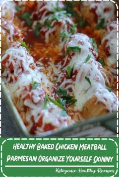 Healthy Baked Chicken Meatball Parmesan - Organize Yourself Skinny Slow Cooker Recipes, Gourmet Recipes, Vegan Recipes, Dinner Recipes, Drink Recipes, Parmesan Meatballs, Chicken Meatballs, Healthy Baked Chicken, Ground Chicken Recipes