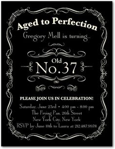 Aged to Perfection - Adult Birthday Party Invitations Postcard in Black | Ceci New York