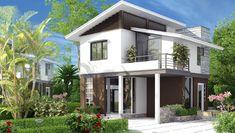 Modern Small House Design, Minimalist House Design, Dream Home Design, Home Design Plans, 2 Storey House Design, Two Storey House, Villa Design, House Stairs, Facade House