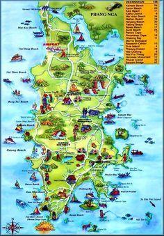 Best Funky Map of Phuket, Thailand.  www.phuketgolfleisure.com Best Green Fee rates for Golf in Phuket Thailand.