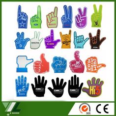 custom giant cheer pu foam finger hand wholesale