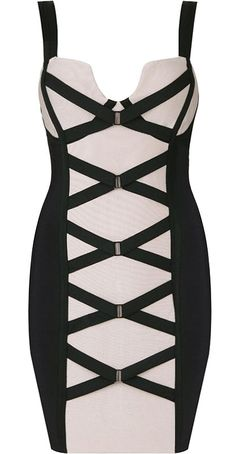 Strappy Bandage Dress: Features a cleverly-cut bustline supported by wide black straps, crossover bandage straps highlighted by a contrast front beige panel, super sexy bodycon silhouette, and a centered rear zip closure to finish. Sexy Dresses, Fashion Dresses, Bandage Dresses, Short Dresses, Herve Leger, Boutique, Couture Dresses, Stores, Ruffles
