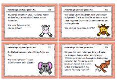 Aufgabenkarten: Textrechnungen 3. Klasse
