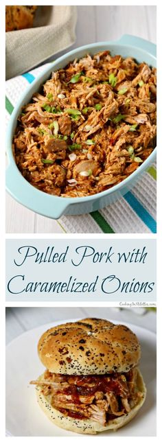 This recipe for Pulled Pork with Caramelized Onions from CookingInStilettos.com will be your new favorite.  Richly caramelized onions and pork simmer in the slow cooker in a flavorful sauce and couldn't be easier to make.  This is going to be your go-to pulled pork recipe | @CookInStilettos