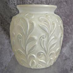 Phoenix glass sculptured artware fern vase white ca for Phoenix glass decorating co