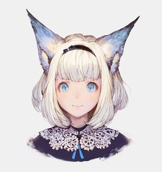 animal ears black bow black shirt blue eyes blue ribbon bow cat ears hairband lace lips looking at viewer original ribbon shirt short hair silver background simple background smile solo wadanaka (mazurka) white hair - Image View - Neko, Pretty Art, Cute Art, Fantasy Characters, Anime Characters, Character Concept, Character Art, Final Fantasy, Fantasy Art
