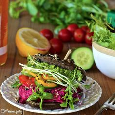 """Almost Raw Portobello Buger:  Download our FREE ThinTea Recipe App for this #CleanEating Recipe & more!! Simply search in the App Store: """"ThinTea"""""""