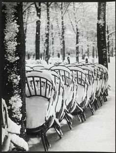 Brassaï, Chairs in a Garden in Luxembourg in the Winter, 1953