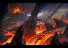 Trying to paint a lava scape this time. Adding a bit of fantasy to the scene with the huge rocks and the little oriental village on it. Fantasy Places, Sci Fi Fantasy, Fantasy World, Lava, Types Of Dragons, Thor, Landscape Background, Fantasy Setting, Wow Art