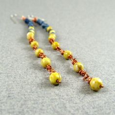 Blue & Yellow Copper Shoulder Dusters $25.00 eleven77jewelry.com