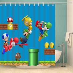 Buy 2019 Cartoon Super Mario Bros Shower Curtain (AT) This shower curtain is Made To Order, one by one printed so we can control the quality. We use newest DTG Technology to print on to 2019 Cartoon Super Mario Bros Shower Curtain (AT) Super Mario Room, Super Mario Birthday, Mario Birthday Party, Mario Bros., Mario And Luigi, Mario Crafts, Doll House Crafts, Game Room Design, Lego Room