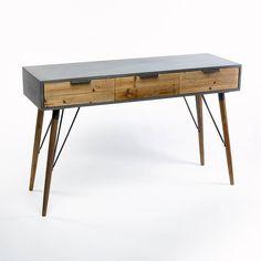 Sidetable Industry grijs met 3 naturel houten laden
