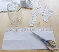 Hochzeits-Special Windlichter Kerzen Deko Glas Spitze DIY Anleitung Variante 1 Material