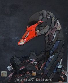 Jeannot Leenen - The not very Black Swan 24 X 30 cm Mosaic Animals, Mosaic Birds, Stained Glass Art, Mosaic Glass, Fused Glass, Art And Illustration, Mosaic Stepping Stones, Mosaic Artwork, Mosaic Projects