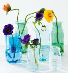 Comparte tus Ecoideas: Jarrones  Make Vases from plastic bottles using a burning candle... nice.
