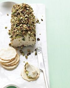 Pistachio-Covered Cheese Log - by Martha Stewart.....looks good:)