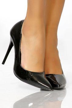 Escarpins bout pointu vernis noir pas cher et sexy