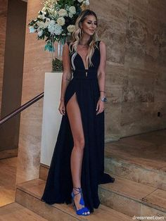 Sexy A Line V Neck High Slit Chiffon Black Long Prom Dresses, Simple Evening Dresses, Party Dresses, Shop plus-sized prom dresses for curvy figures and plus-size party dresses. Ball gowns for prom in plus sizes and short plus-sized prom dresses for Beautiful Prom Dresses, Elegant Dresses, Formal Dresses, Wedding Dresses, Party Dresses, Ladies Dresses, Prom Gowns, Dresses Uk, Matric Dance Dresses