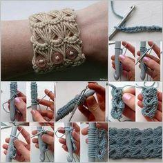 Crochet Broomstick Lace Bracelet Tutorial